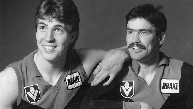 Melbourne's Irish recruits Jim Stynes and Sean Wight in 1988 Picture: Photo File Source: Herald Sun