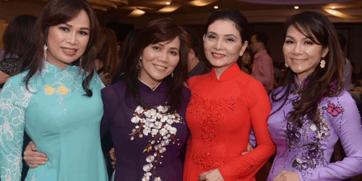 Women enjoy themselves at a fundraising gala ball held by Sydney's Vietnamese community.